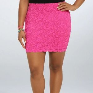 Torrid Pink Lace Bodycon Skirt
